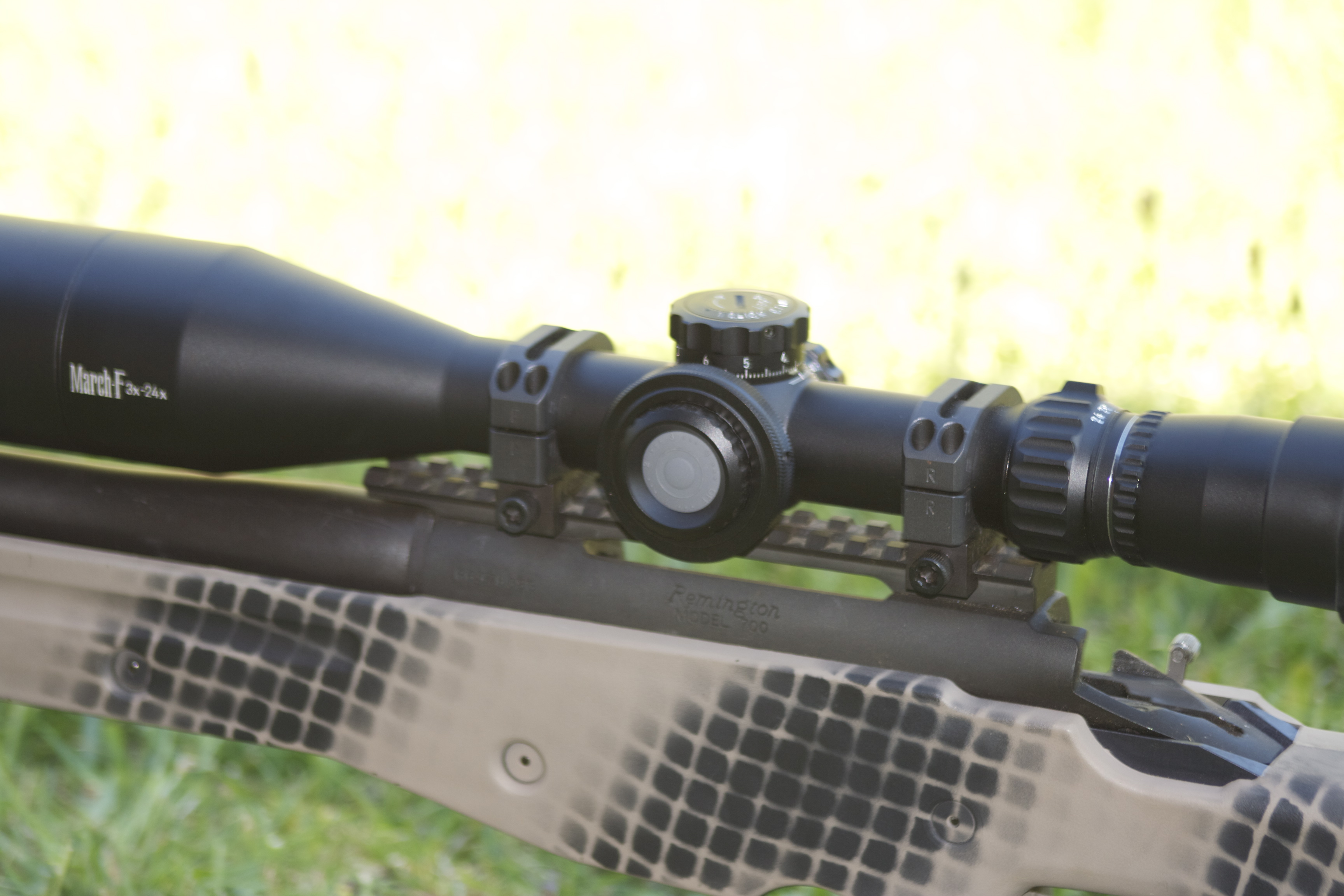 The March 3 – 24 x 52mm FFP sat a little too low on this rifle.  Changing the mounts to a slightly higher set made all the difference for the author.