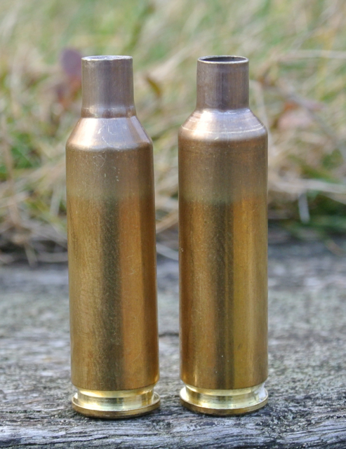 Before and after fireforming.  The 6.5x47 Lapua case is partially 'necked' to create a shoulder.  One firing with Bullseye and a wax-plug gives a reasonable Smack case - good enough for load development and running-in the barrel.