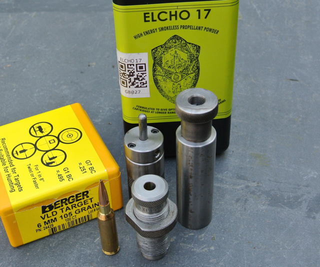The little 'sixes' love Elcho 17 powder.  It's similar to Reloader 17 and is now offered by Swiss Powders as RS60.  Dies are Wilson plus a Redding body die for shoulder bump.