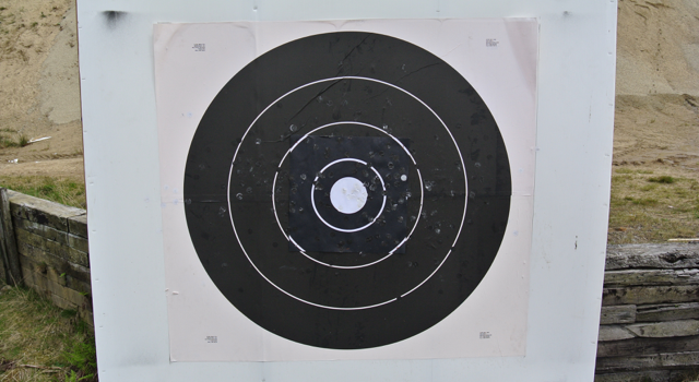 Our 1000 yard target.  All three scopes gave a sharp, high-contrast image at 32X but only with the Leupold at 42X could we pick out the other detail