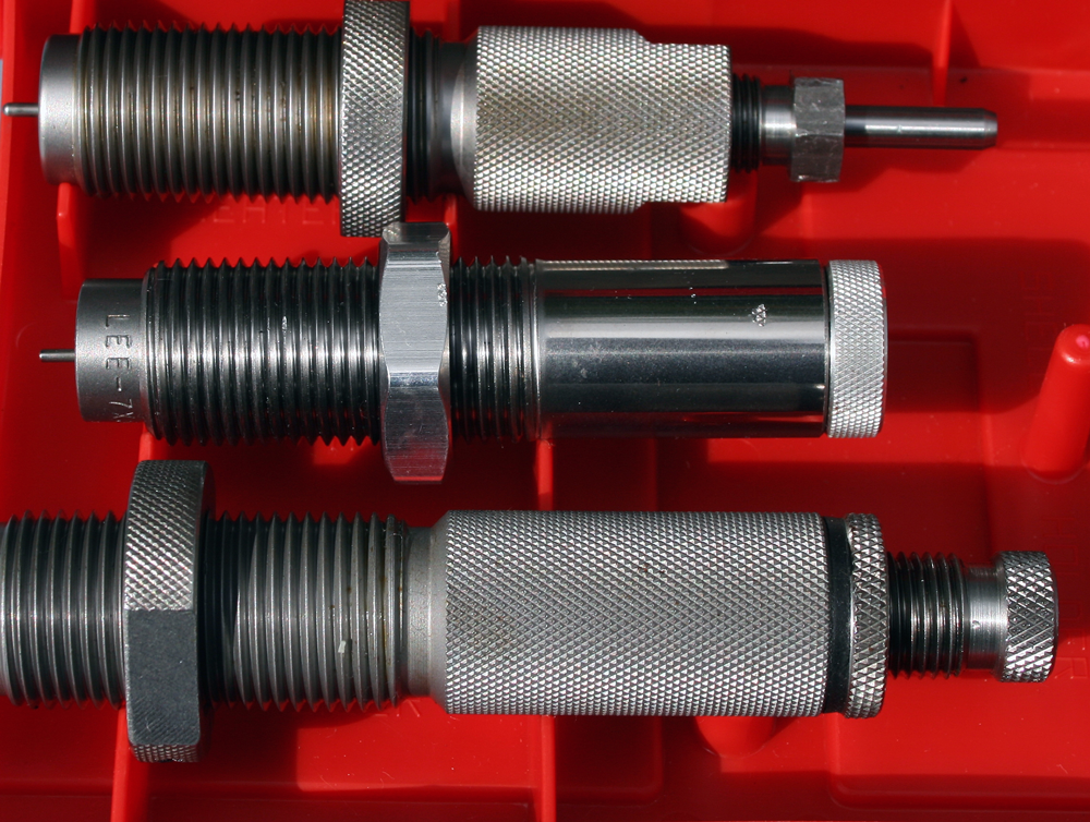 Tools (2): My older Hornady 7X57 sizer die (top) with a Lee Collet sizer and Hornady seater below.