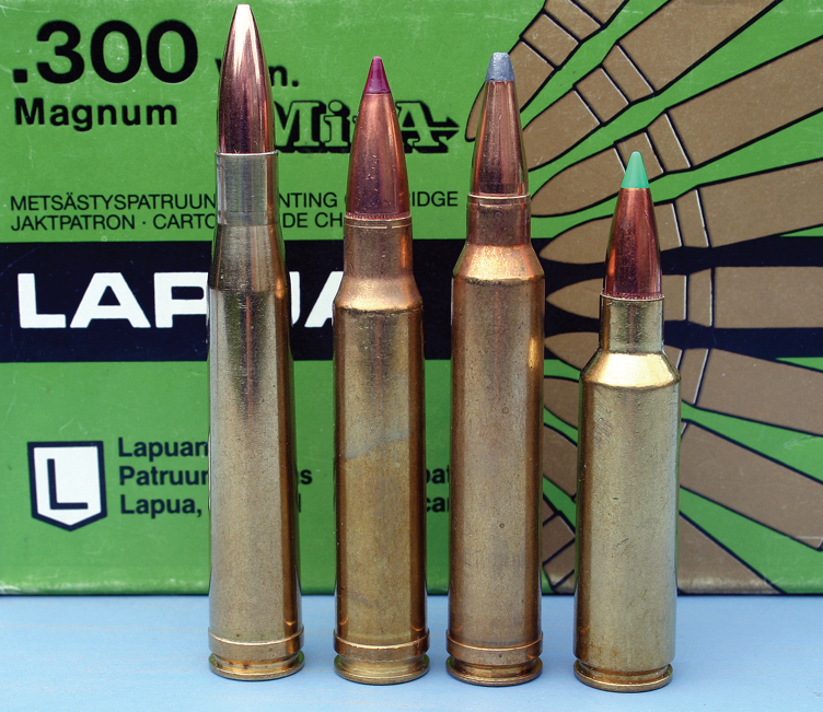 Magnums – long (300 H&H); original 'short' (338 and 300 Winchester Magnums) and current 'short' (300WSM)