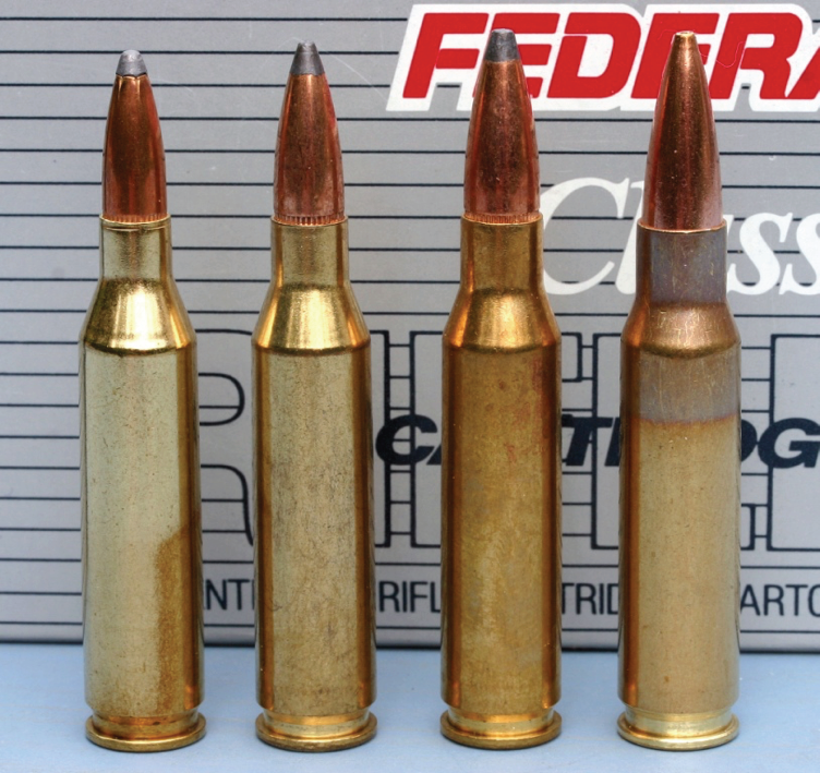 The versatile 308 Win 'family' finally acquired a 6.5mm version in 1997, 40 years after the 6mm (.243 Win) variant was introduced. Left to right: .243 Win, .260 Rem; 7mm-08 Rem; .308 Win.