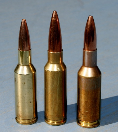 The Grendel (centre) has a shared heritage with the 6PPC (left) both derived from the .220 Russian. It matches 6BR (right) case capacity though.