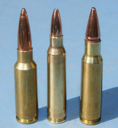 M4 carbine ammo contenders. Left to right 6.5 Grendel; existing 5.56 Nato; 6.8mm SPC. The US Army briefly adopted the SPC for limited Special Forces deployment