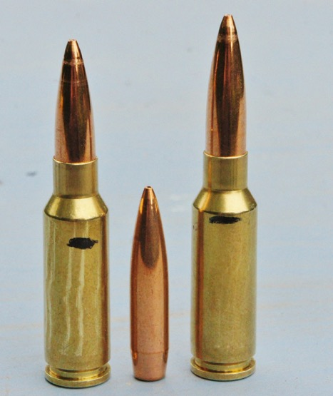 "The Grendel and 123gn Lapua Scenar loaded to 2.25"" COAL left, and for single-shot use in a long-throated rifle (right)"