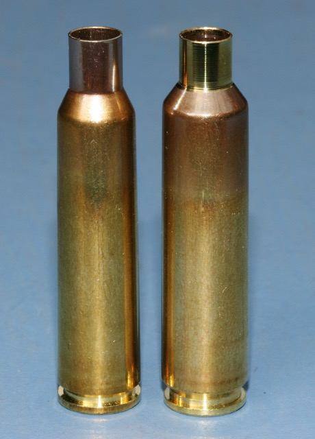 The largest capacity cartridges of the sextet: 6.5X55 (left) at ~59gn water capacity and the rebated-rim 6.5-284 with ~66gn.