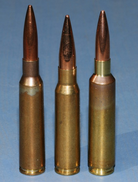 6.5X55 and 6.5-284 loaded with 140s flank a 308 Winchester showing their extra length