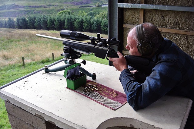 Alan Seagrave and his 6.5X55mm Tikka T3 Varmint in a 1,000 yard BR match at Diggle