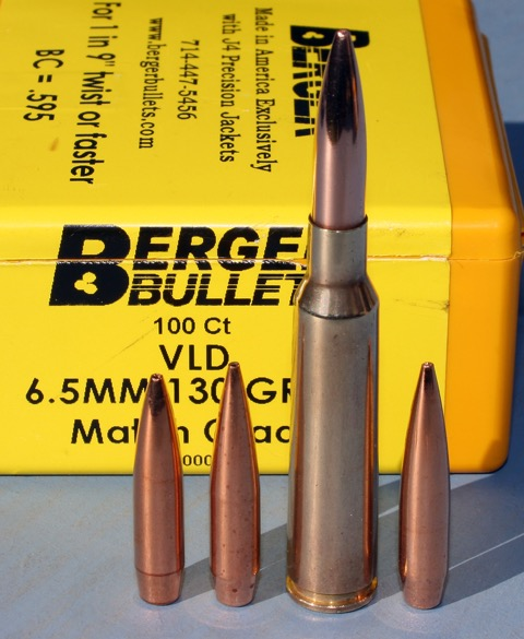 6.5X55 with three possible weights of match bullets. Left to right 123gn Scenar; 130gn Berger VLD; 140gn Berger BTLR. Modelling comparative external ballistics performance showed much less difference than expected.